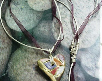 Heart pendant Harlequin macramé finishes clay