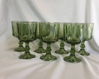 Vintage Lyric Hazelware Avocado Green Footed Goblet Water Glass - set of 8