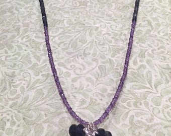 Gaia's Grace Jewelry - Amethyst & Iolite Crystal Necklace with gemstone cluster