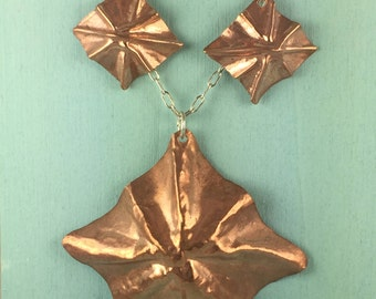Fold formed copper pendant and earrings