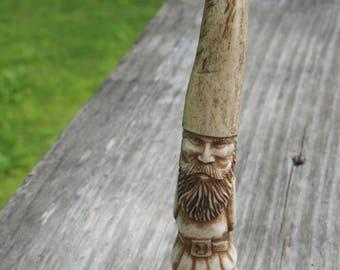 Gnome DEER TINE - hand carving- Deer antler - Folk lore