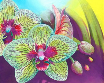 Mystic Orchid Original Oil Painting on Canvas