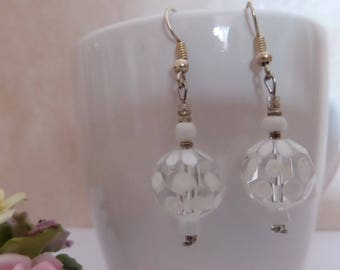 Earrings Crystal and white glass beads, medium silver nickel and lead free, for pierced ears.