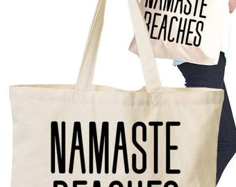 Eco Tote Bag with Screen Graphic Print/Namaste Beaches