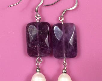 Amethyst and Freshwater Pearl Earrings/Aritos (14mm genuine stone)