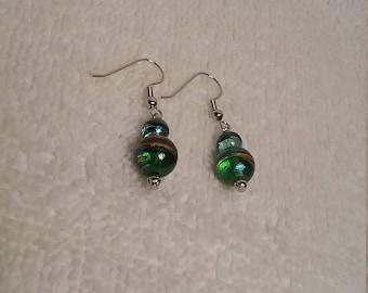 Green Glass Bead Dangle Earrings