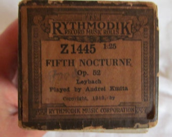 Antique RYTHMODIK Piano Roll 1912 Ignace Leybach Fifth Nocturne - NICE!