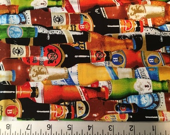 Beer Bottle Fabric Fat Quarter