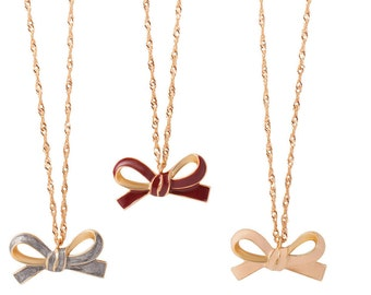 Burgundy Enamel Bow Pendant Necklace - Tweens - Tilyon Jewelry