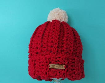Kids | RED | Crocheted Bobble Hat | With Cream Pom Pom |