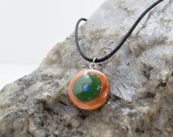 Wood Pendant with Malachite Inlay and Moonstone, Glow in the Dark Green color, Round Cedar Wood Inlaid Pendant