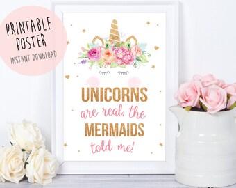 Unicorn mermaid sign, Unicorn party sign, Unicorn Party,Unicorn Birthday,Unicorn Party Sign,unicorn invitation,unicorns are real poster