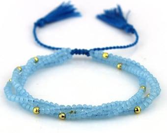 Triplex Layer Adjustable Crystal Tassel Bracelet