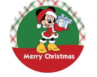 Minnie Mouse Merry Christmas Button - Christmas Pin - Disney Park Button - Holiday Park Pin