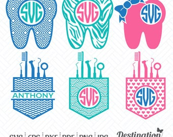 Dentist SVG Files, Dentist Monogram, Tooth SVG, Cutting Files, Silhouette Files, Cricut Files, Layered Vector, dxf eps png jpg pdf, D/009