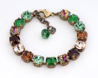 Green Swarovski Crystal Bracelet, Rhinestone Tennis Bracelet, Brown Swarovski Bracelet, Austrian Crystal Jewelry, Rhinestone Jewelry, Gisela