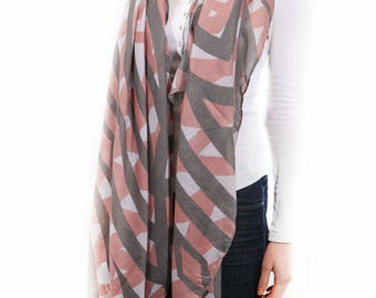 Monogrammed Scarf for Women Pink Grey,Striped Scarf,Scarves for Women,Ladies Wraps Shawls,Lightweight Scarf,Spring Summer Scarf,Gift for Her
