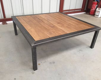 Table industrial style wood and metal coffee