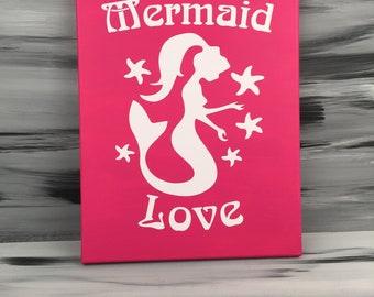 "Mermaid Picture - Mermaid Bath - Mermaid Bathroom - Mermaid Sign - Mermaid Decor - 14"" X 11"" Pink Mermaid Love Canvas"
