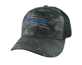 American Thin Blue Line Wavy US Flag Embroidery on an Adjustable Charcoal Digital Camo Structured Adjustable Classic Trucker Style Mesh Cap