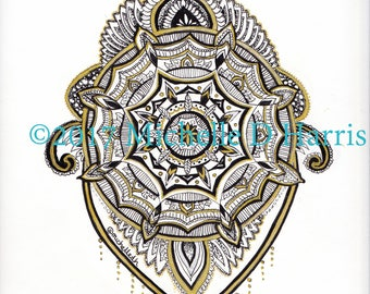 Black and Gold ORIGINAL Mandala Printable Wall Art INSTANT DOWNLOAD, flowery mandala, digital print, illustration, mandala print