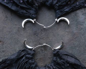 Starscape Black and Silver Moon Sari Silk Earrings