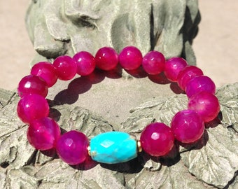 Bright Pink Agate and Sleeping Beauty Turquoise Stretch Bracelet