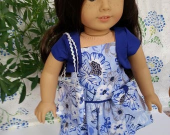 "Blue Floral Tank Dress with Bag and Shrug for 18"" and American Girl Dolls"