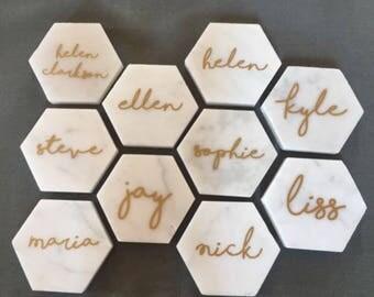 Marble hexagonal name tiles / place settings for weddings