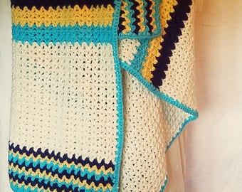 Crochet Lap Afghan Cream Blue Navy Goldenrod Throw Ready To Ship RTS