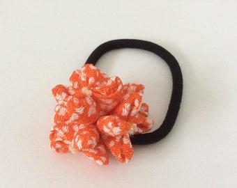 Orange ponytail holder chirimen/Japanese crepe