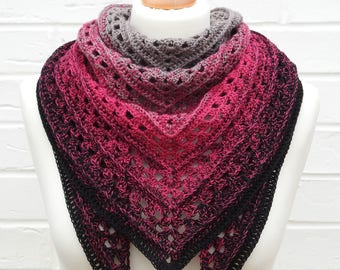Crochet Lace Shawl - Gradient Gray to Hot Pink to Black - Bright Pink Shawlette - Knitted Goth Shoulder Scarf - Knit Wrap Gothic Accessories