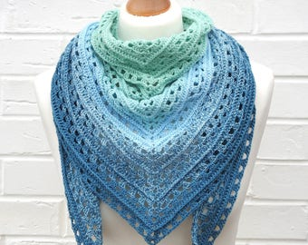Crochet Lace Shawl, Gradient Teal Blue to Light Aqua Green, Summer Shawlette, Knitted Shoulder Scarf, Crochet Lace Knitted Accessories
