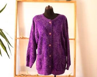 90s purple oversized cardigan size medium