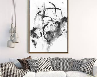 Minimalist Poster, Large Wall Art, Abstract Art Print, Black Abstract Art, Monochrome Art Print, Home Decor, Wall Decor, Instant Download