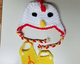 Chicken hat and feet covers