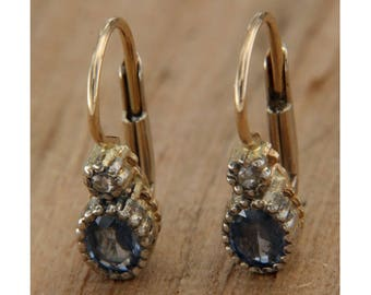 14 KT yellow gold earrings. Sapphire and Diamonds, Monachella pendants with natural hard stones, Italian jewels with sapphire and diamonds