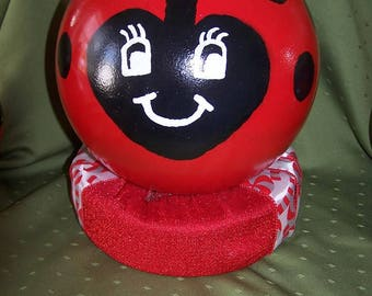 Lady Bug Yard Globe  (Bowling Ball)