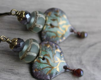 "Bohemian earrings ""the roots of love"" poetic handmade, copper enamel, spun glass torch, heart, Valentine's day gift"