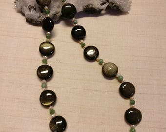 Designer necklace with gold-sun obsidian, chrysoprase and pearl ~ Gilded silver Cap ~ 34% Reduced!