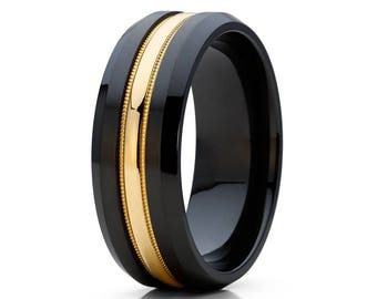 Black Wedding Band Black Zirconium Wedding Ring 14k Yellow Gold Groove Milgrain Design