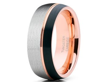 Tungsten Wedding Band Rose Gold Wedding Band Men & Women Anniversary Ring Black Tungsten Ring Offset Groove