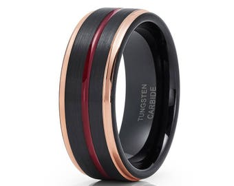 Rose Gold Tungsten Wedding Band Maroon Ring Tungsten Wedding Ring Black Tungsten Band Men & Women Comfort Fit Ring