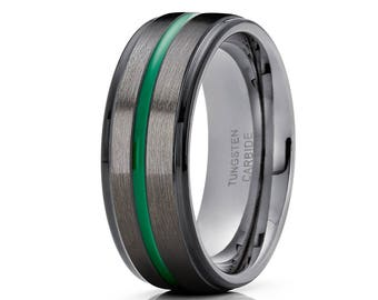 Green Tungsten Wedding Band Black Tungsten Ring Men & Women Gunmetal Tungsten Wedding Band Anniversary Ring Comfort Fit