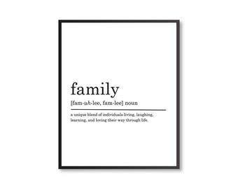 Family Definition Print, Modern Home decor, Printable Poster, Nursery Print, Nursery Decor, DIGITAL DOWNLOAD