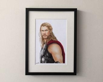 Portrait fan art gouache painting of Chris Hemsworth, Thor, Avengers
