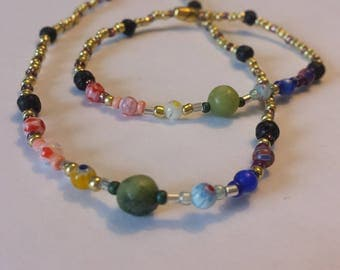 Rainbow/Chakra colored gemstone~ Necklace and Bracelet SET