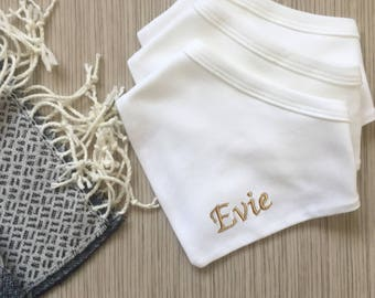 Set of 3 Personalised Embroidered with Name Baby Bandana Bibs (Boys and Girls)