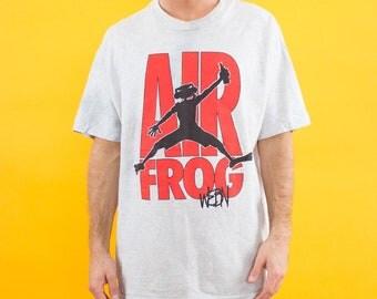 90s Tshirt, Cincinnati, Radio Station, Air Frog, 90s, 90s Clothing, Tshirt, Red, Gray, Frog, WEBN, Radio, Graphic Tshirt, 90s Clothes, Cool