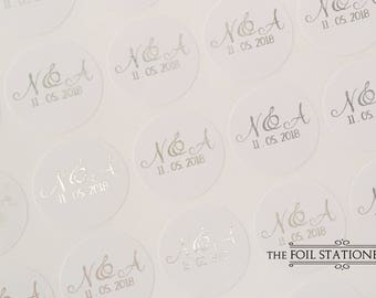 Foil Wedding Stickers, Silver Wedding Stickers, Wedding Favour Stickers, Wedding Labels, Custom Wedding Stickers, Personalised 25mm D10